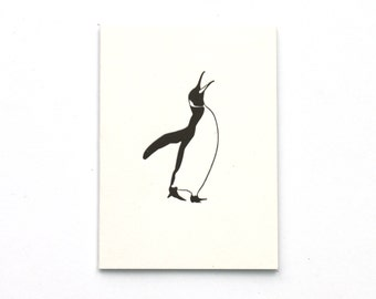 Letterpress Card - Thank you Note Cards - Penguin Cards - Small Cards - Birthday Cards - King Penguin - Blank Card - Thank you Cards