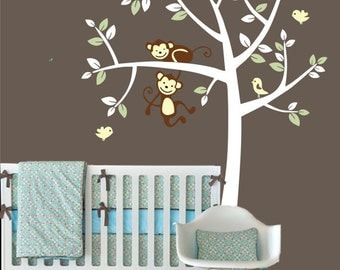tree monkey decal - Baby nursery Wall Decal - Animal monkeys Tree wall sticker - wallpaper - Vinyl Wall Decal -nursery tree kids kid