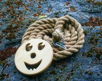 Rope swing, rope tree swing, backyard swing great for kids, organic climbing rope, 9 feet (3m) long 1.2 inch (3cm) thick organic jute rope.