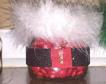 Christmas mason jar with candy and secret compartment for extra goodies