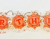 Birthday banner, doily banner, floral banner, party banner, handmade banner, homemade banner, garland, party décor