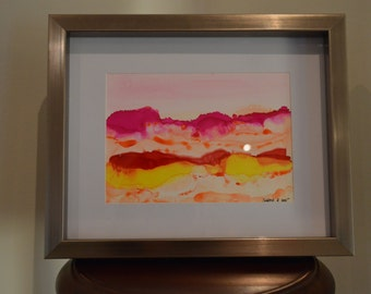 Sunrise Alcohol Ink Original Art on Yupo Paper