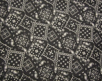 Black Bandana Fabric Black and White BTY Western Theme Projects Cowboy Projects Nice Weight Cotton