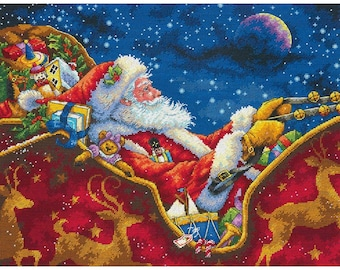 Dimensions Gold Collection Cross Stitch Kit - Santa's Midnight Ride #70-08934