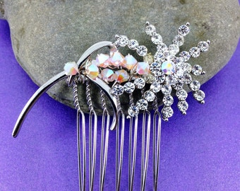 Vintage Bridal Hair Comb, Swarovski Crystals, Hand Crafted Hair Accessory, Vintage Wedding, Mother of the Bride