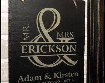 Mr and Mrs Wedding Sign, Engraved Slate Sign, Personalized, Wedding Gift for Couples, Anniversary Gift,Custom Sign,Couples Sign,Slate Plaque
