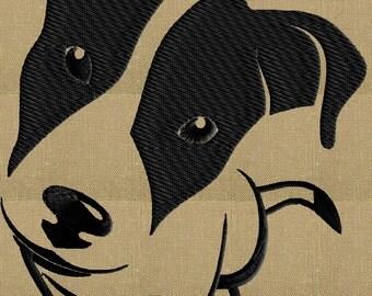 Jack Russell Terrier dog - Embroidery DESIGN FILE  - Instant download - 2 sizes - 1 color - Dst Hus Jef Pes Exp Vp3 formats