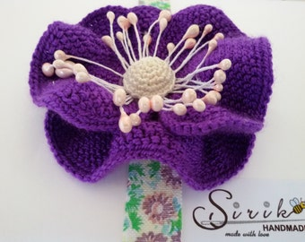 Headband Newborn headband big crochet flower stretchy elastic baby headband  baby girl outfit photography