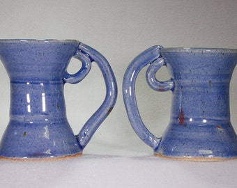 Pair of Blue Stoneware Double Funnel Mugs