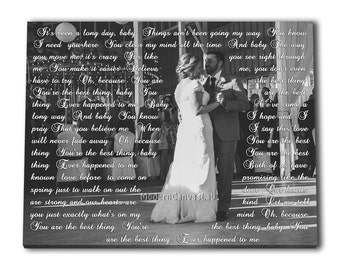 Wedding First Dance Canvas. Black And White Picture to Canvas with Vows, Lyrics, Wedding Song, Text. Gallery Wrapped Canvas Print B'day Gift