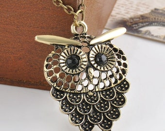 OWL necklace w antique finish