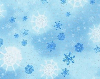 Robert Kaufman - Radiant Holiday - AINM-15165-254 Frost  - Snowflakes - Christmas - Holiday - Winter -  Blue - Silver - One More Yard