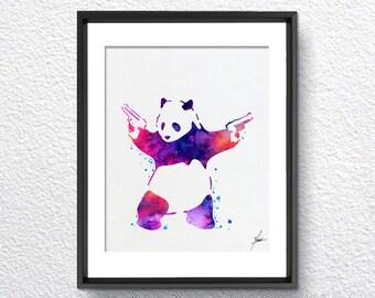 Banksy Panda Bear Watercolor Painting Art Print Wall Art Poster Giclee Wall Decor Art Wall Hanging 274