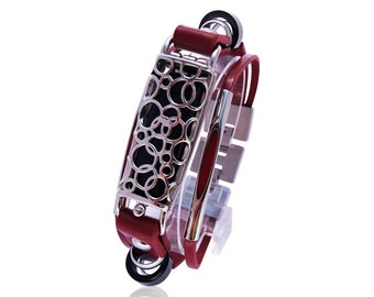 Bracelet SOMA -  Flex Jewelry - Red/Silver - made from stainless steel and leather