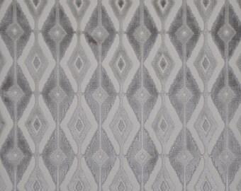DESIGNER BLAINE SOUTHWEST Ikat Kilim Cut Velvet Fabric 10 Yards Gray Taupe