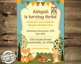 Woodland Animals Birthday Invitation Bday_inv_028