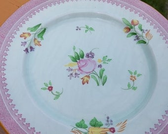 Adams Calyx Ware Salad Plates Set of 6 Vintage Hand Painted Roses
