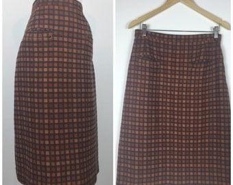 Vintage 50s skirt / 1950s skirt / 1960s skirt / Orange Grey Plaid skirt / Wiggle Skirt / pencil skirt / secretary skirt /