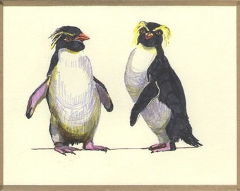 Funny Birthday Card -  Original Ink Drawing - Rockhopper Penguin Anniversary Card for Her for Him - Blank 4.25x5.5