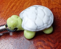 Turtle Necklace - Howlite Handmade Carved Gemstone Mala Fetish Pendant Jewelry (F5D) Polished Natural Stone Hand Carved Animal Charm