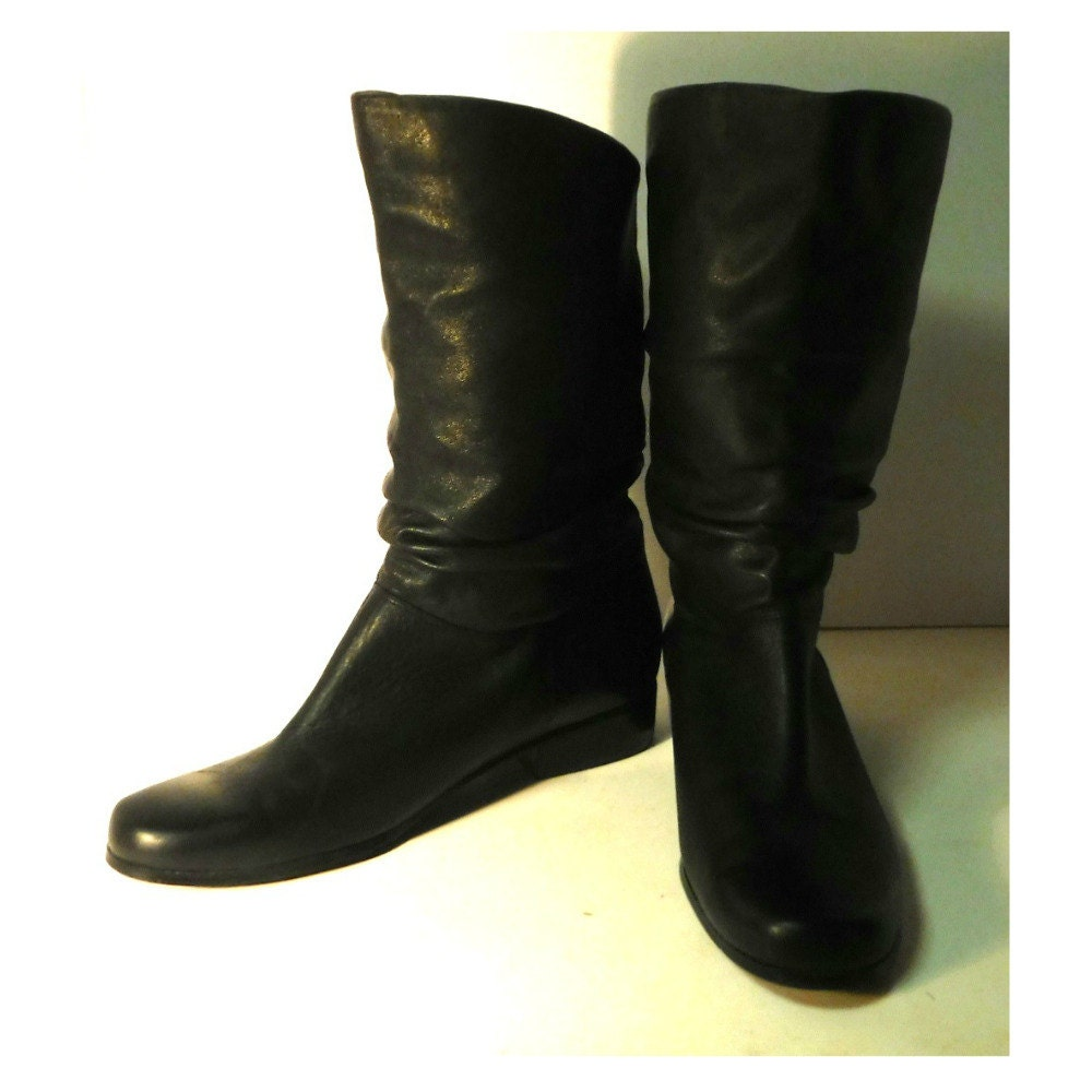 s vintage boots black leather boots slouch boots