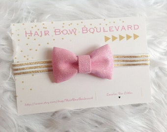 Pink Glitter Bow- Sparkle- Infant Headband- Pink and Gold-Newborn Headband, Baby Hair Bow, Pink Sparkle Bow, Glitter Headband, Toddler