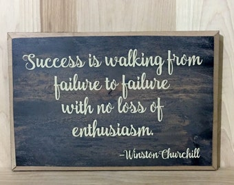 Winston Churchill wood sign quote, success sign, wooden custom sign,  positive quote wall decor, inspirational wall art