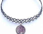 Amethyst Tattoo Choker, Crystal Charm Necklace, Stretch Choker Space  90s tumblr Choker, Grunge Necklace, Crystal Jewellery