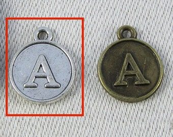"Silver Letter ""A"" Charm, 1 each per package. ALF012a"