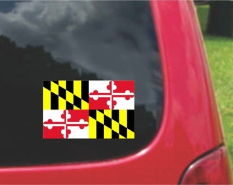 2 Pieces Maryland  State Flag Vinyl Decals Stickers Full Color/Weather Proof. U.S.A Free Shipping