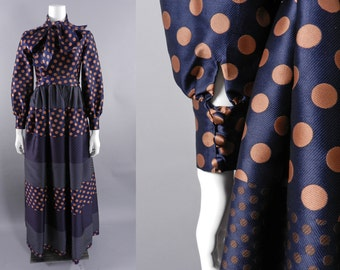 Geoffrey Beene 1970's Polkadot Gown with bow at Neck