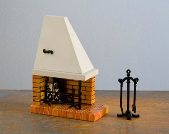 Lundby Corner Fireplace with Tools - 1:18 / 2/3 Inch Scale Vintage Wooden Dollhouse Furniture