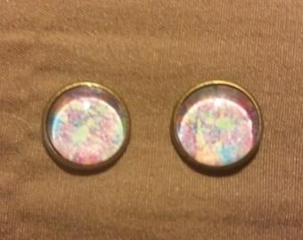 Handmade Glass Bead Purple, Pink & Blue Watercolor Stud Earrings