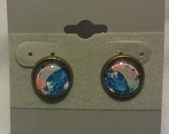 Handmade Glass Bead Pink & Blue Watercolor Studs