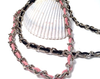 Biker, Punk Rocker, Industrial, Heavy Gauge Chain Necklace with Suede Cord Lacing