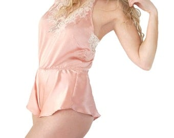 Luxury Playsuit - handmade luxury lingerie made in 100% silk and French Lace