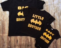 3 Personalized baby Boy im the Big/Little Brother/ onesie and shirt matching sets baby shower gift any size batman/Superman