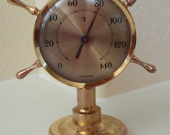 Brass Nautical Desk Thermometer