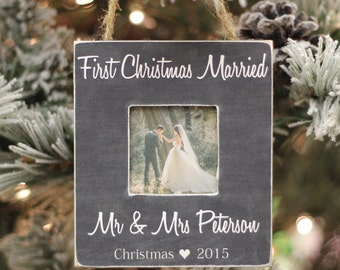 Christmas Ornament First Christmas Married Mr and Mrs Newlywed Photo Ornament Personalized Christmas Gift