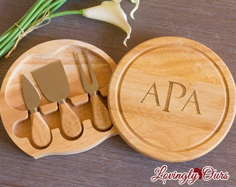 Housewarming Gift - Personalized Cheese Board / Cutting Board with Monogram or Initial includes Tool Set - Wedding Gift