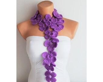 Purple Flower Scarf Hand Crochet Lariat Scarf