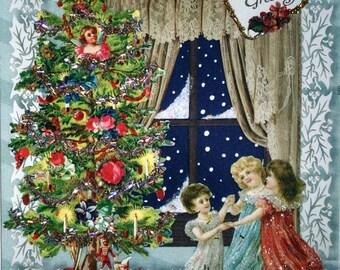 Victorian Christmas Tree Card- Blank,Ornaments,Tinsel,Nostalgia,Toys,Glitter,Children,Snow,Window,Kids,Presents,Greetings,Vintage