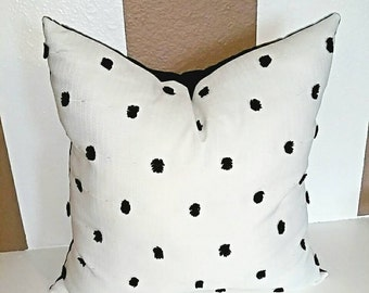 "20""x20"" Pom Pom Pillow Cover Black Puff Pillow Black Puff Pillow"