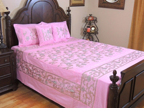 Sequin Bedspread Set Pink Dupioni Silk Lata Pattern Ensemble