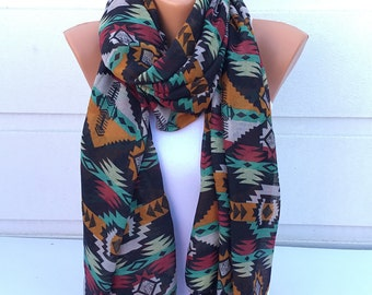 Ethnic Scarf, Geometric Scarf, Cotton Scarf, Voile Scarf, Spring & Summer Scarf, Winter Scarf, Woman Fashion Accessories