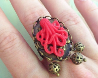 Ring adjustable red Octopus