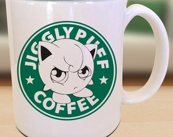 Cute pink balloon pocket monster Starbucks Anime RPG Manga Gamer Japanese Insipred Cartoon Geek Nerd Jigglypuff Parody Mug
