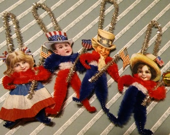 Set of 4 Vintage Style Chenille Patriotic Red White Blue July 4th  Ornaments