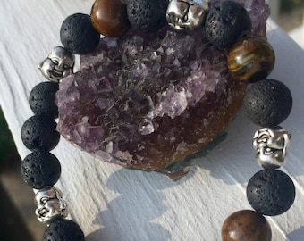 Volcanic Lava Beads and Genuine Tiger's Eye Healing Bracelet with LaughingBuddhaHead Charm