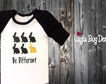 Kid's Easter t-shirt | Raglan tee for boys and girls | toddler bunny shirt | Easter Bunny t-shirt | Be different tee for kids
